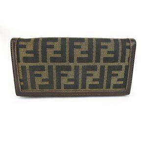 "FENDI ""Zucca"": Brown Leather & ""FF"" Logo Wallet rc"